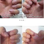 利尻カラーシャンプーを使った直後の爪と入浴後の爪の比較